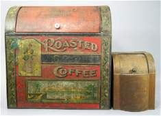 Two Antique Tin Store Display Containers
