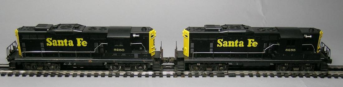 Two Lionel GP9 Santa Fe Switchers 8250 & 8255, powered