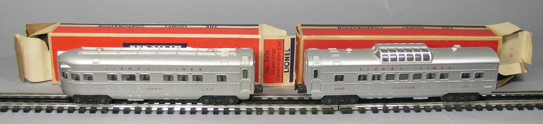 Two Lionel Passenger Cars with Red Lettering