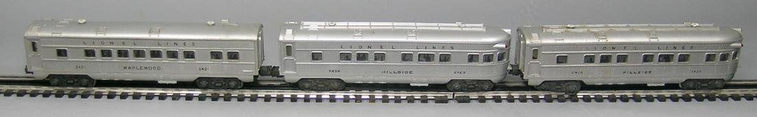 Three Lionel Passenger Cars with Black Lettering