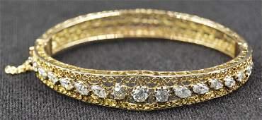 14k Yellow Gold and Diamond Bangle Bracelet