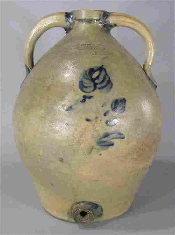 Rare 19th C. Julius Norton Cobalt Decorated Stoneware