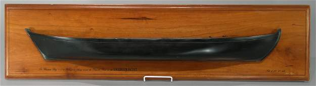 Carved Wooden Durham Boat Half Hull by Jack Ryan