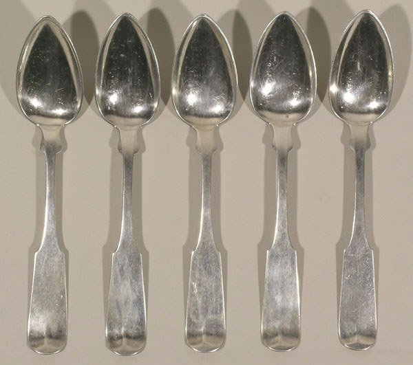 """5: Five """"Lowell & Senter"""" Coin Silver Teaspoons C. 1830"""