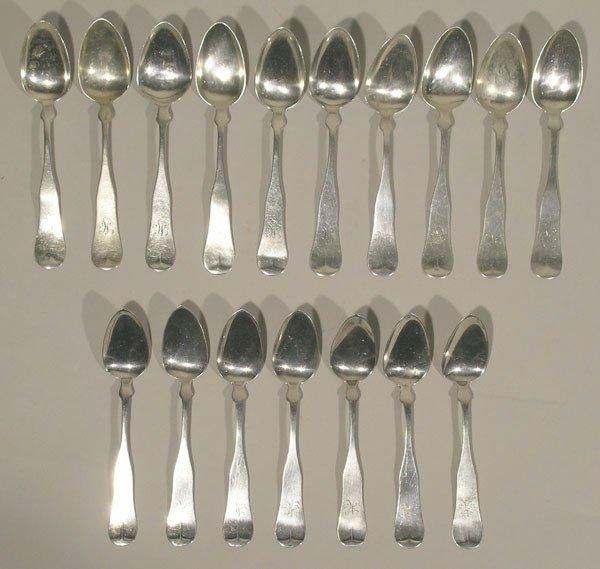"6: Seventeen ""Carter Bros."" Sterling Silver Spoons"
