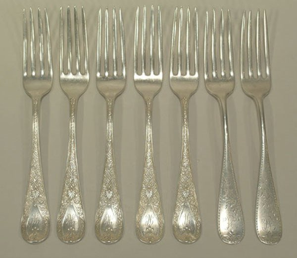 """7: Seven """"Carter Bros."""" Sterling Silver Forks"""