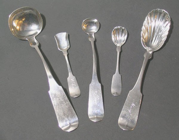 8: Five Early 19th C. Coin Silver Serving Spoons