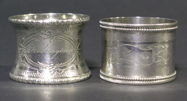9: Two 19th C. Silver Napkin Rings