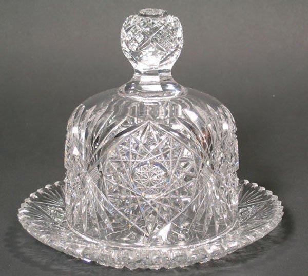 14: American Brilliant Cut Glass Cheese Dome