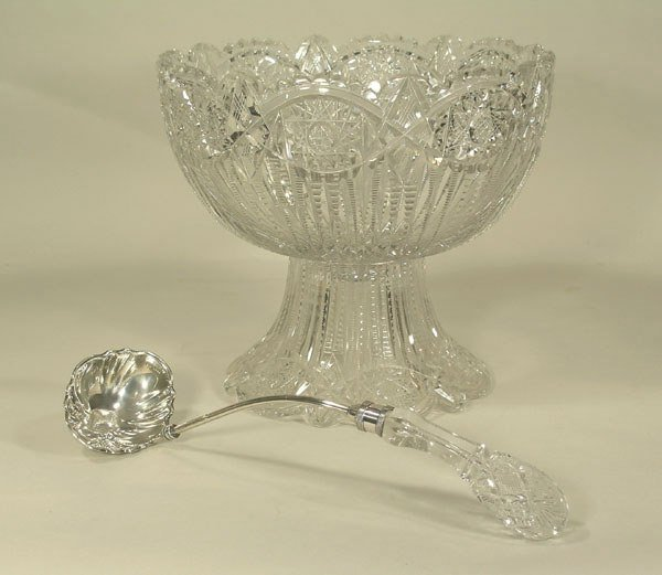 23: American Brilliant Cut Glass Punch Bowl On Stand