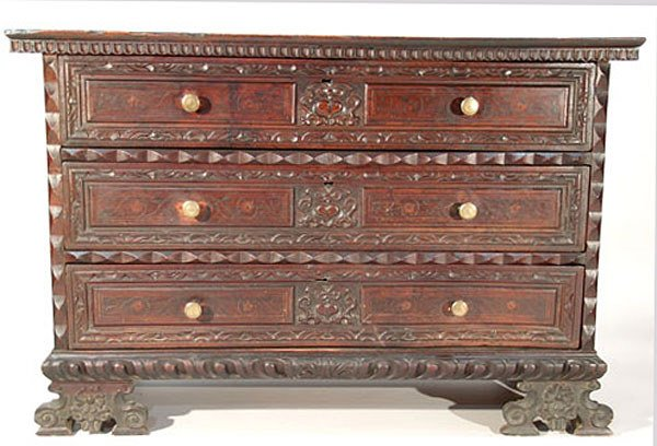 188: Antique Jacobean Style Walnut Chest of Drawers