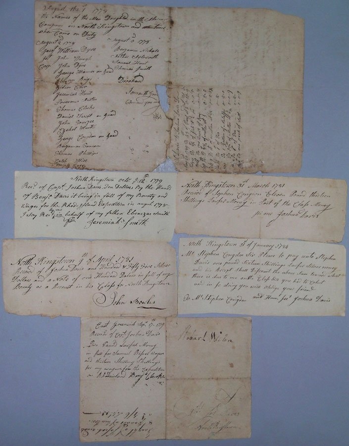 Collection of Six American Revolution Documents, Rhode