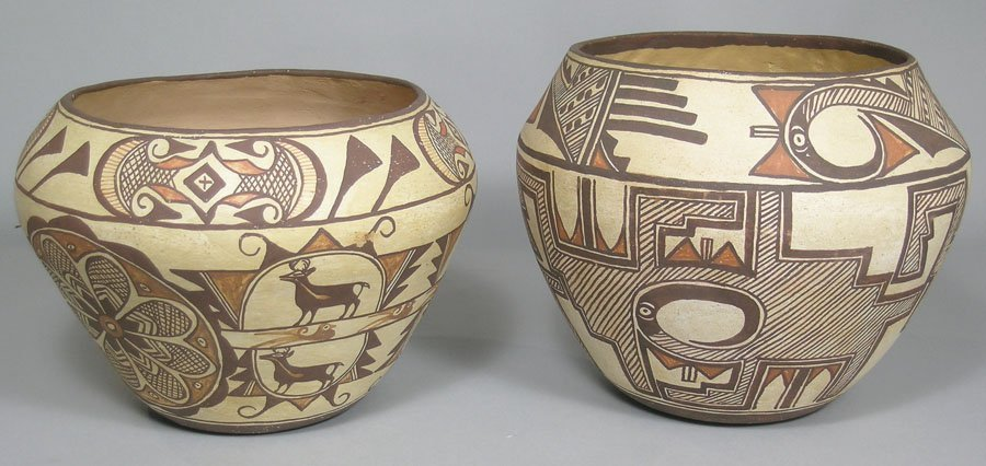 Two Southwest Native American Vintage Acoma Pottery