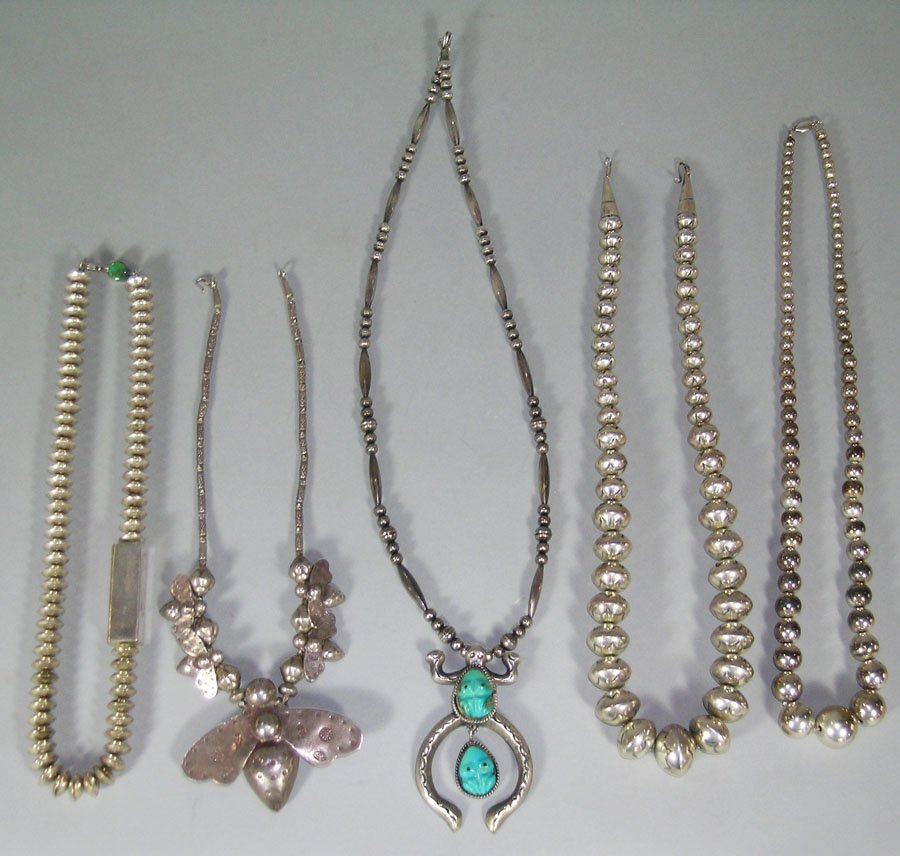 Five Southwest Native American Silver Necklaces, three