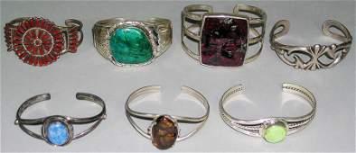 Seven Southwest Native American Silver Cuff Bracelets