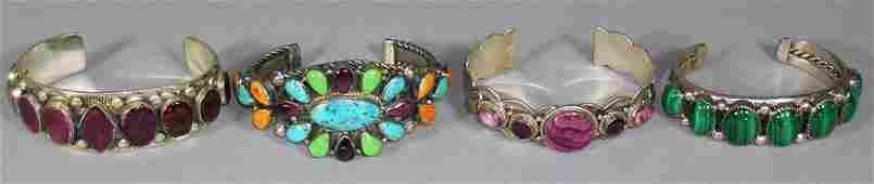 Four Southwest Native American Silver Cuff Bracelets