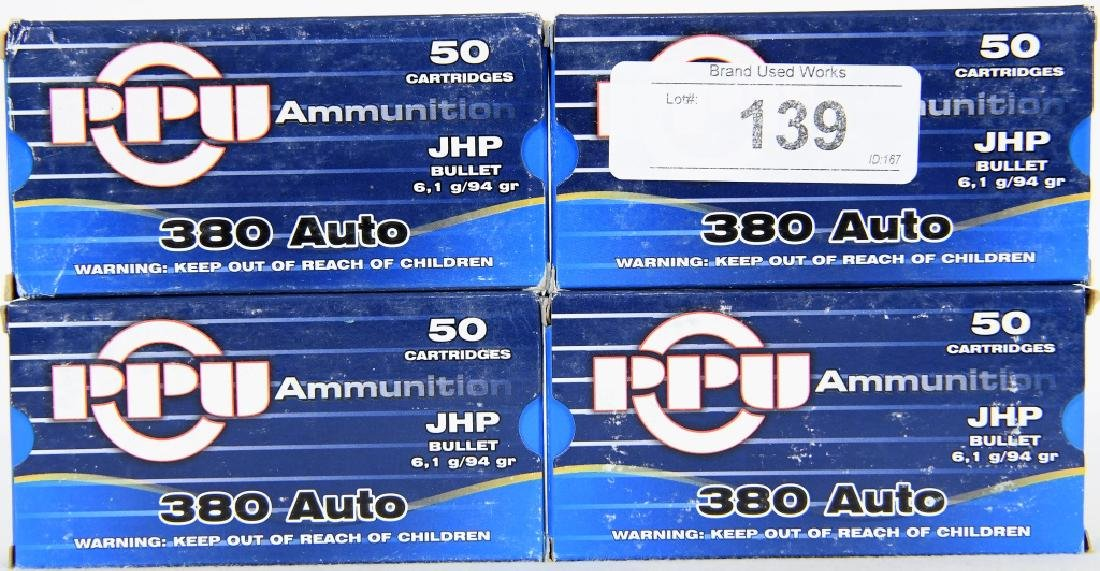 198 Rounds of PPU .380 Auto JHP 94 Gr. Ammo