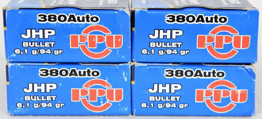 198 Rounds of PPU .380 Auto JHP 94 Gr. Ammo - 2