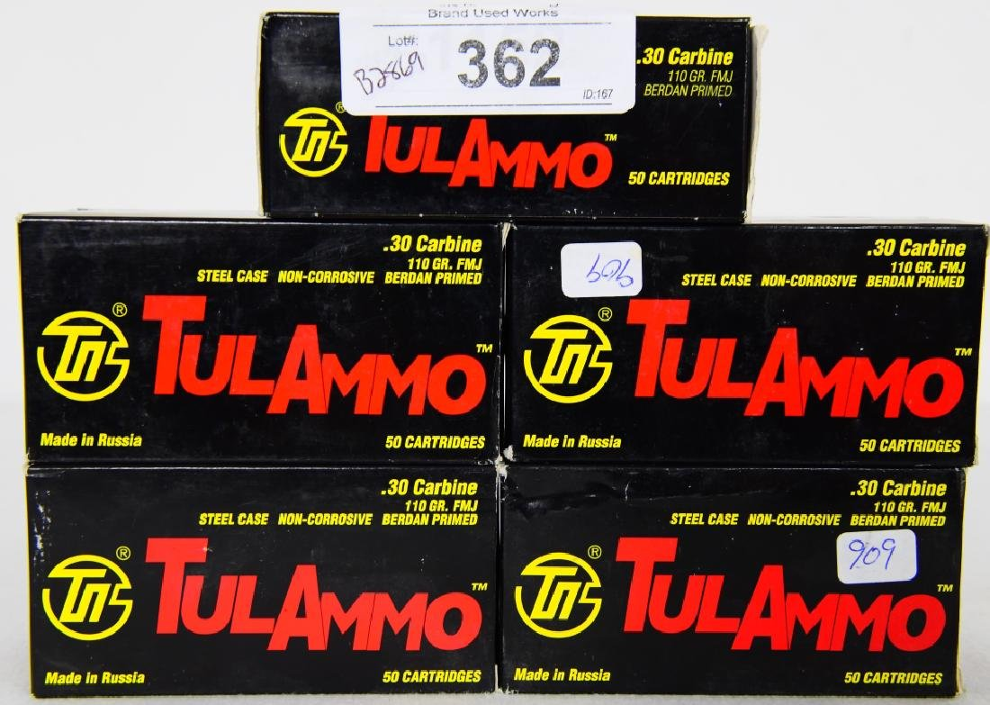 250 rds Tulammo .30 carbine 110 grain FMJ ammo