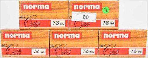 100 primed casings of Norma 7 65 ARG