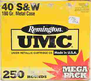 250 Rounds Remington UMC .40 S&W Ammunition