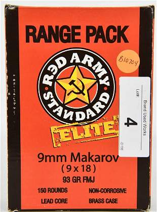 150 Rounds Red Army Standard Elite 9x18 Makarov