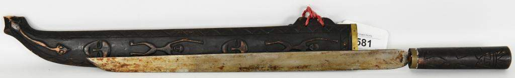 Antique Vietnamese Sword With wood Scabbard