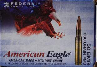 10 Rounds Of American Eagle .50 BMG Ammunition