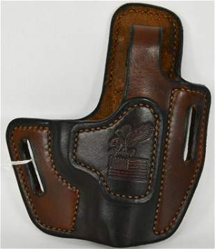American Flag & Eagle Hand crafted Leather Holster