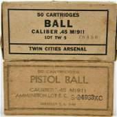 100 Rounds Of Ball M1911 .45 ACP Ammunition