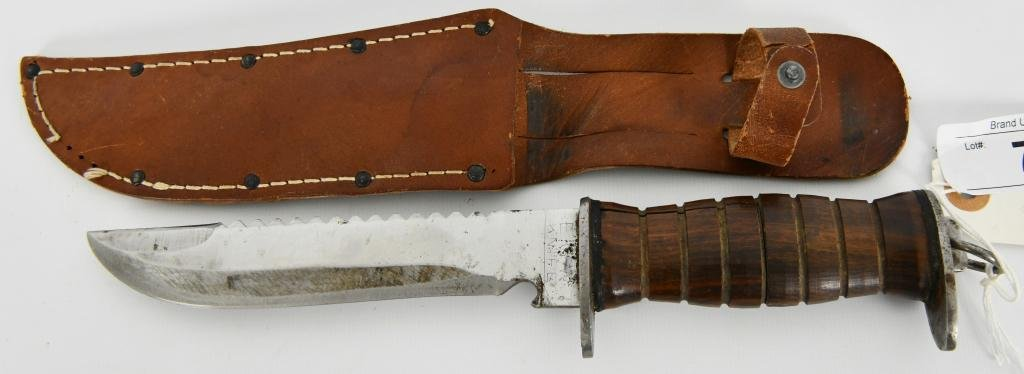 E.G.Waterman US WWII fighting knife W/ Leather