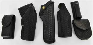 Lot of 6 Various Black Leather Holsters