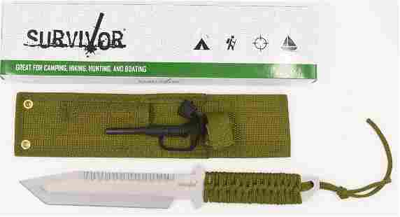 New Survival Cord Wrap Handle Fixed Blade Knife