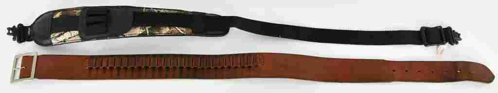 Lot of 2 Leather Nylon Belt Sling