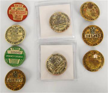 Lot of 9 Vintage Hunting Trapping Fishing License