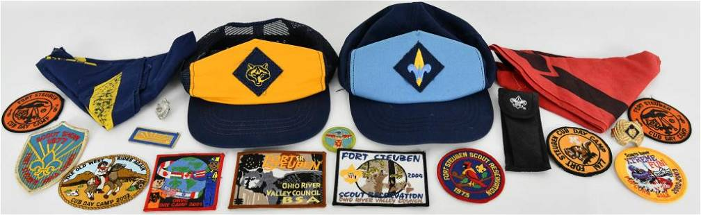 Lot of Various Boy Scout Hats Scarfs Patches