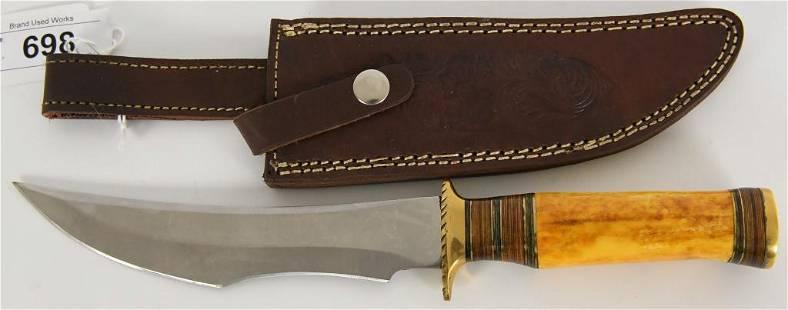 Custom Fixed Blade Hunting Knife w Leather Sheat