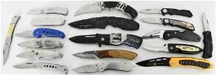 lot of 18 various Folding pocket knives: Buck