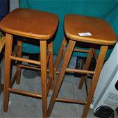 LOT OF TWO VINTAGE BAR STOOLS MADE OF WOOD AND