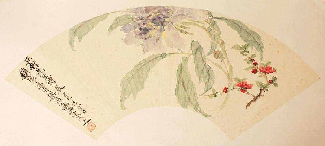A GOOD QUALITY 20TH CENTURY FAN PAINTING ON PAPER,