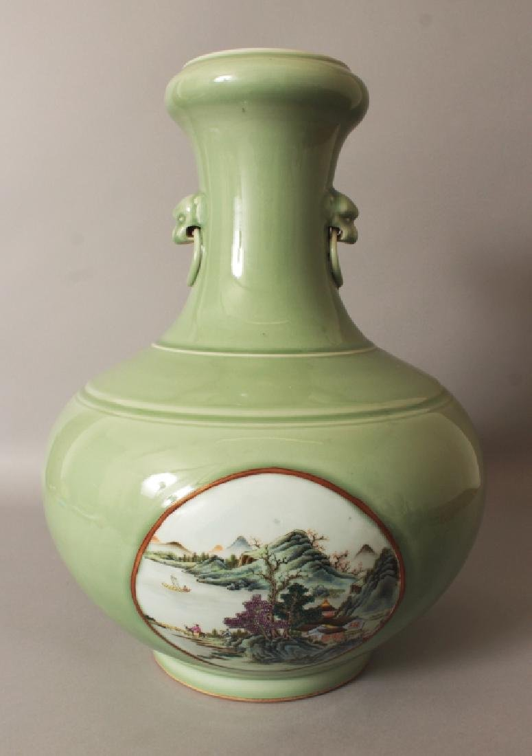 A LARGE GOOD QUALITY CHINESE CELADON GROUND FAMILLE