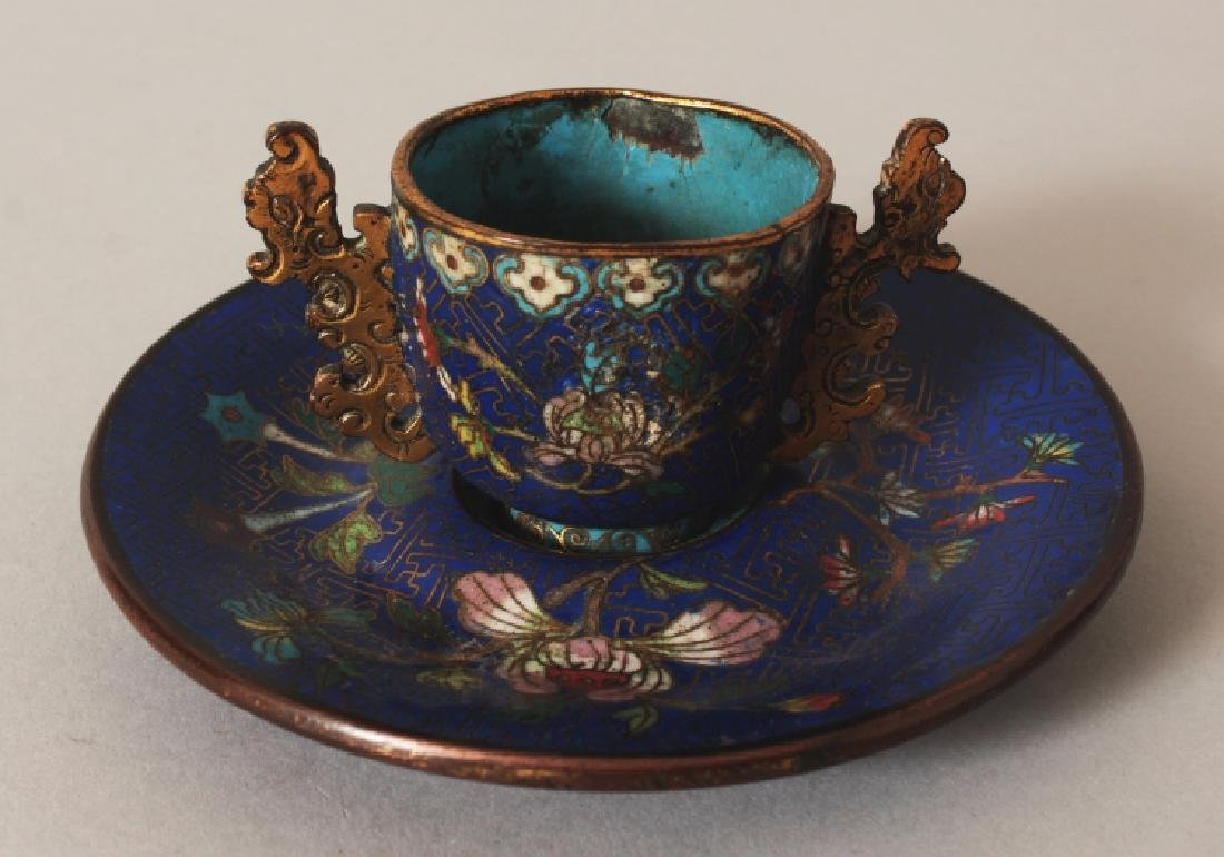 A 19TH CENTURY CHINESE BLUE GROUND CLOISONNE CUP &