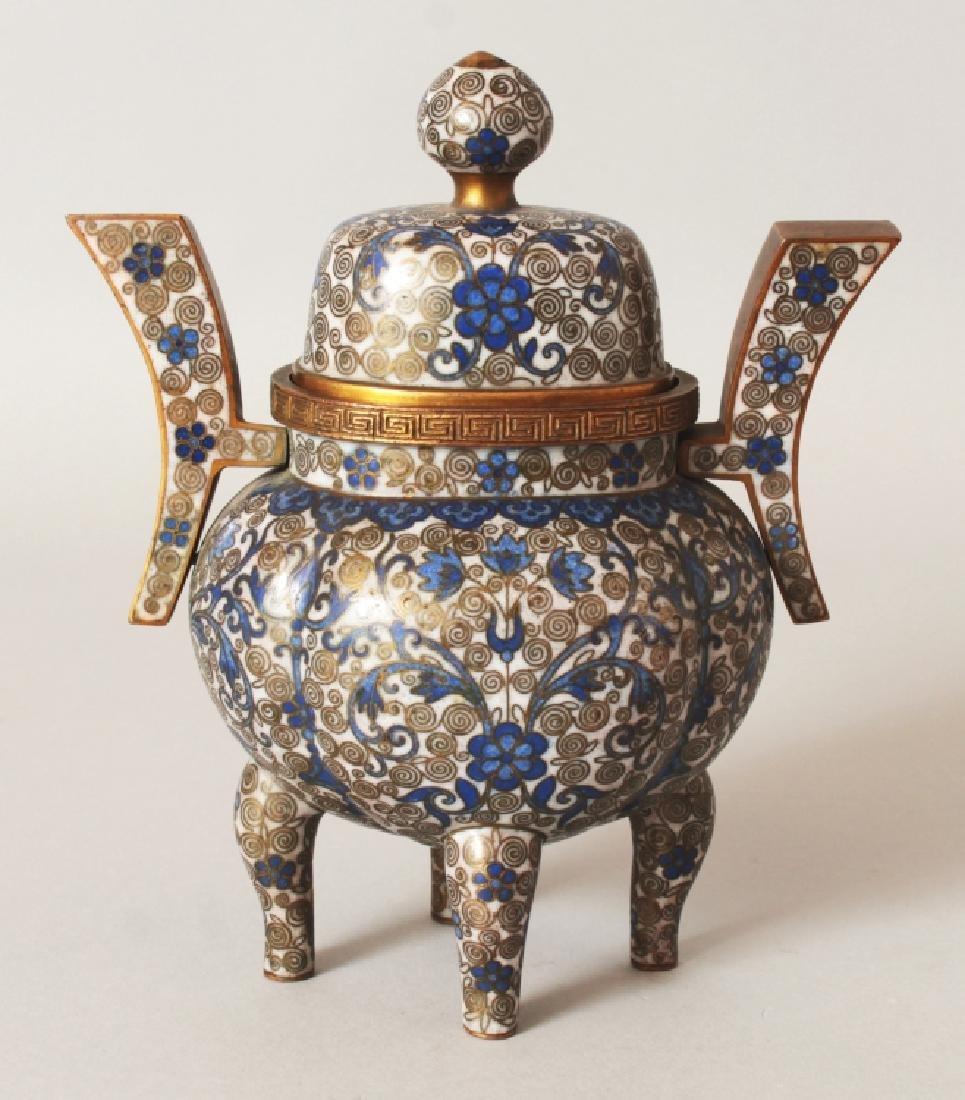 A 19TH CENTURY CHINESE WHITE GROUND CLOISONNE CENSER &