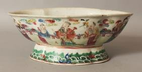A 19TH CENTURY CHINESE FAMILLE ROSE FOOTED PORCELAIN