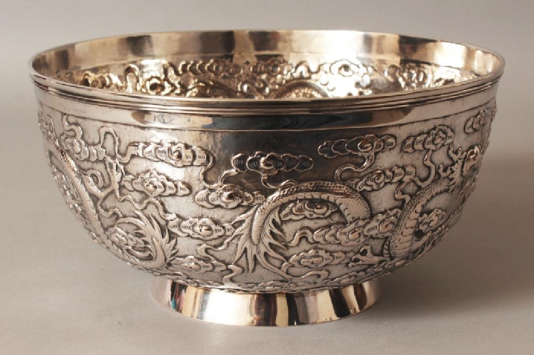 A GOOD EARLY 20TH CENTURY CHINESE SILVER BOWL, possibly - 2