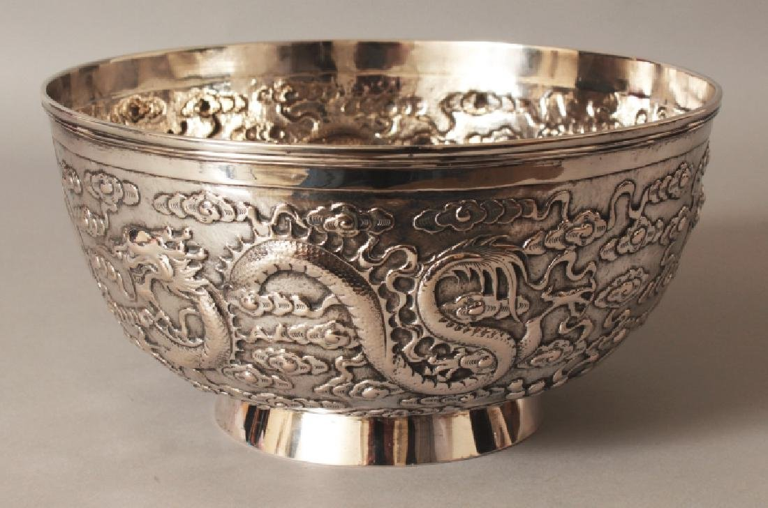 A GOOD EARLY 20TH CENTURY CHINESE SILVER BOWL, possibly - 4