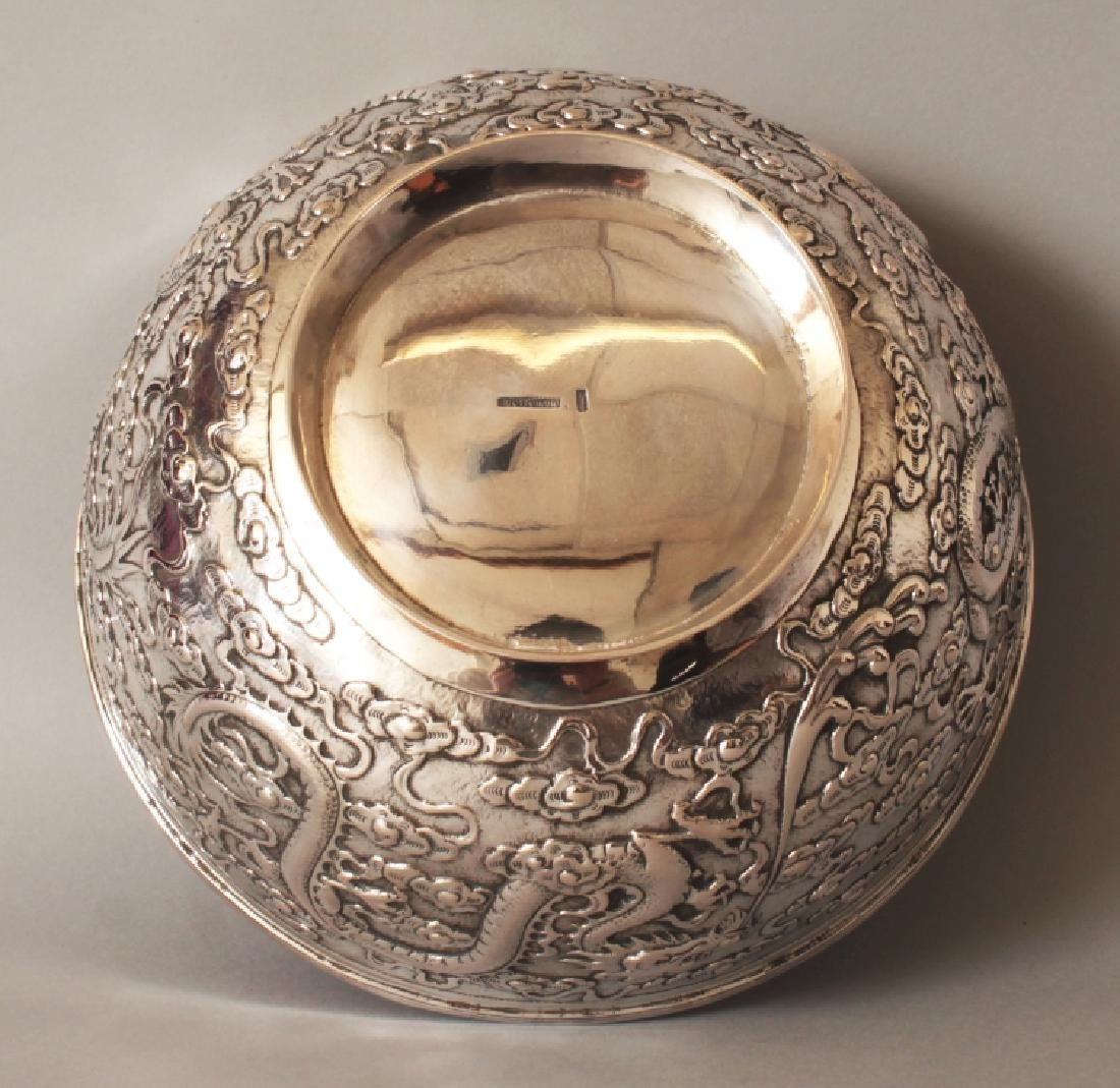 A GOOD EARLY 20TH CENTURY CHINESE SILVER BOWL, possibly - 8