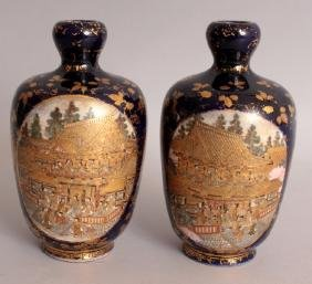 A PAIR OF SIGNED JAPANESE MEIJI PERIOD SATSUMA