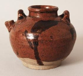 A SMALL CHINESE SONG/YUAN DYNASTY BROWN GLAZED