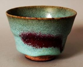 A CHINESE SONG STYLE JUNYAO CERAMIC TEA BOWL, the pale